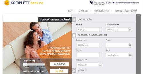 Komplett Bank screenshot