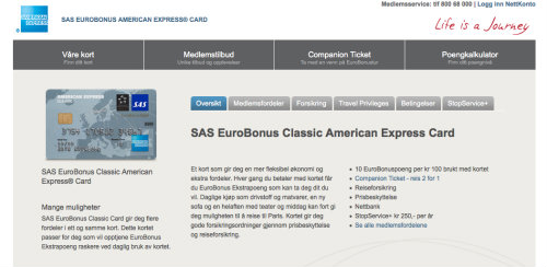 SAS American Express screenshot