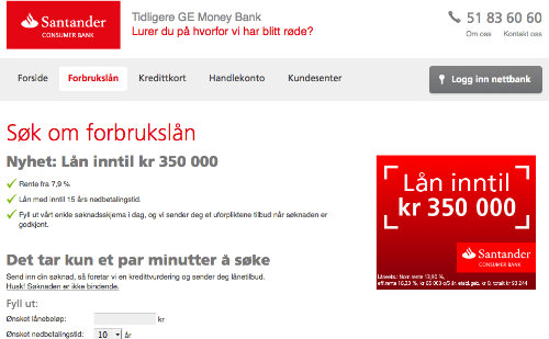 Santander Consumer Bank screenshot