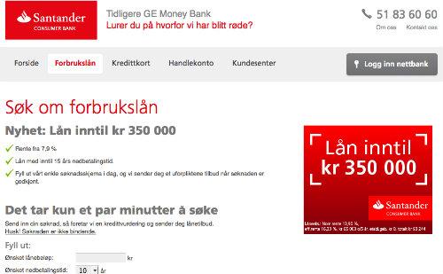 Santander Consumer Bank screenshot