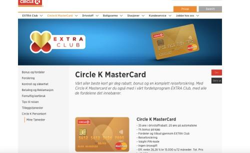 Cirkle K Mastercard screenshot