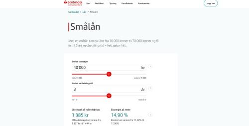 Santander smålån screenshot